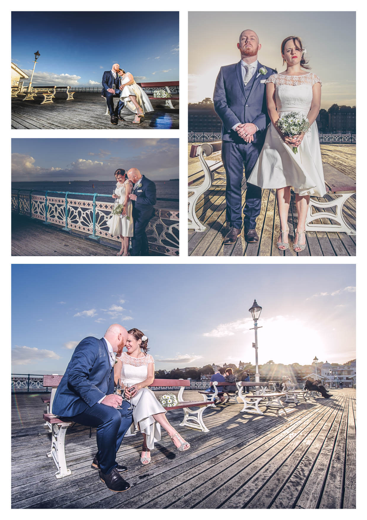 Images of Bride and groom onPenarth Pier Pavilion Wedding Photographers