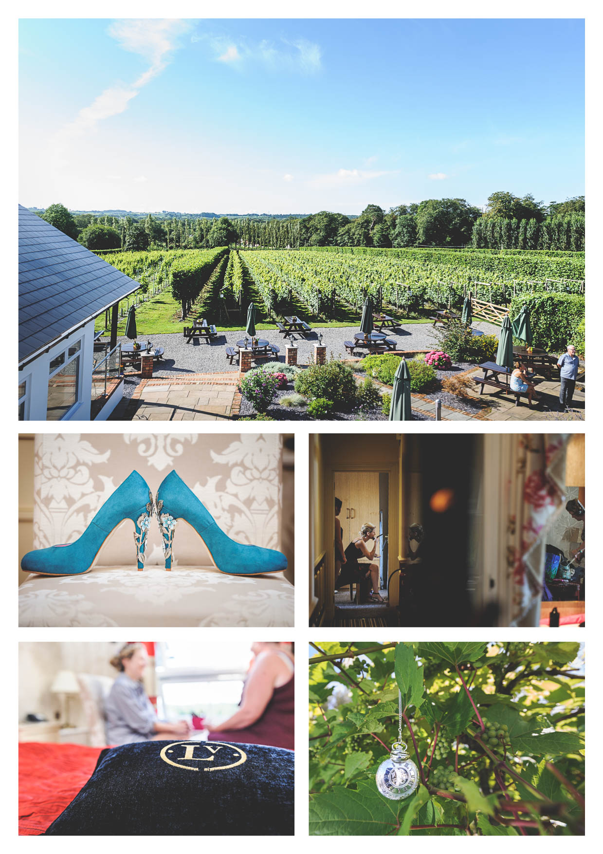 Photographs by wedding photographer owen mathias at llanerch vineyard while a bride is getting ready for her wedding in the cariad suite