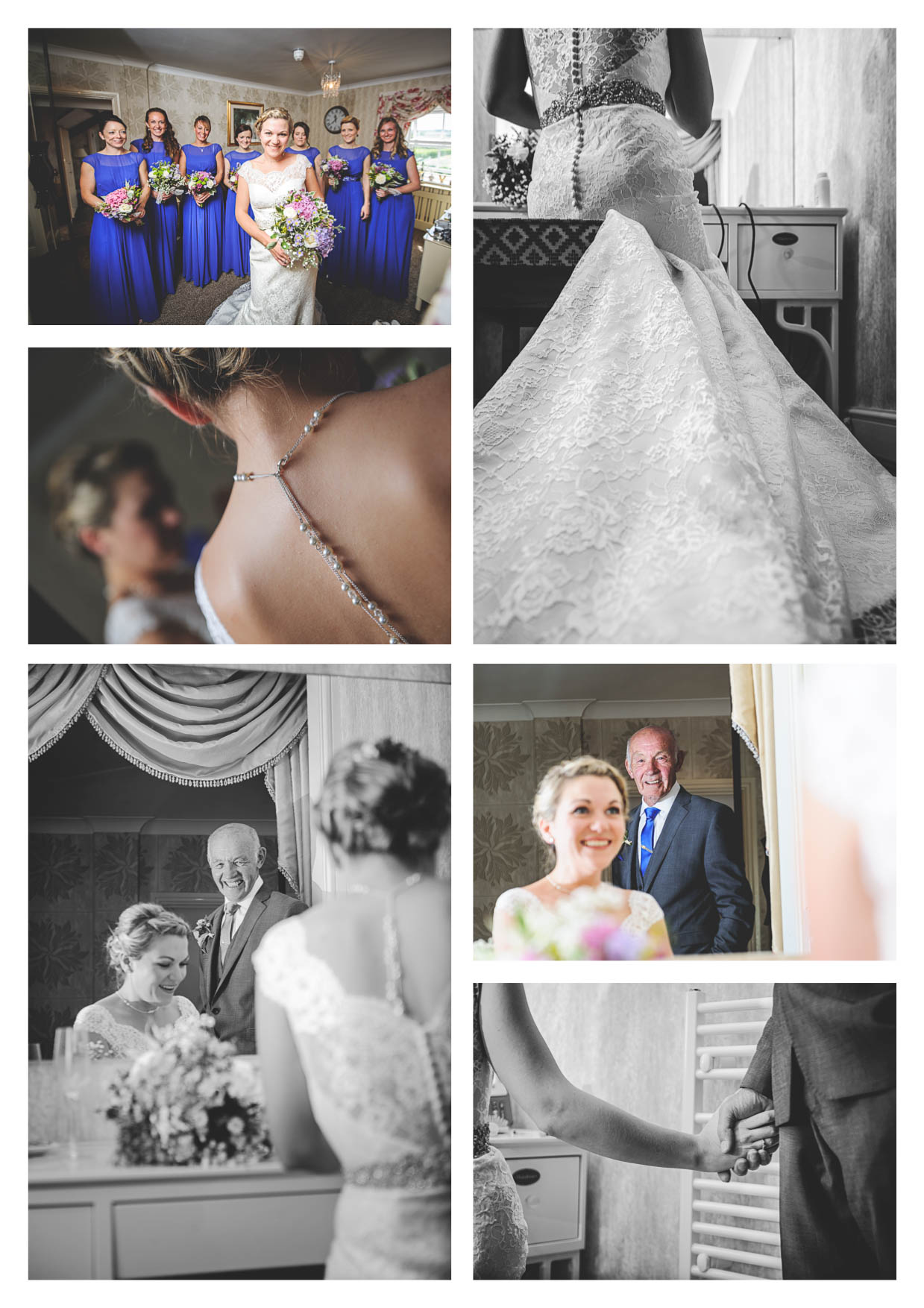Images of bridal prep in the cariad suite at llanerch vineyard during a wedding photographed by owen mathias