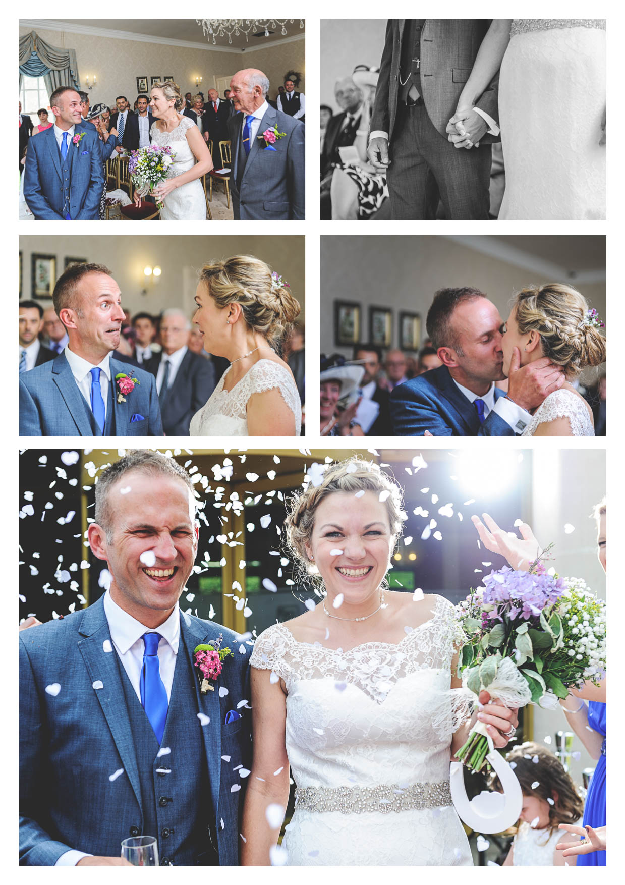 Photos of a wedding service and confetti being thrown outside decourceys manor in cardiff by wedding photographer owen mathias
