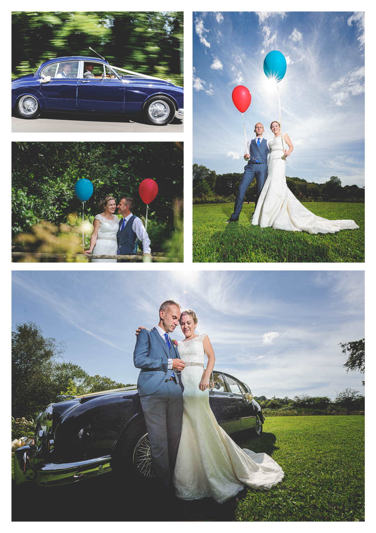 A bride and groom with an old jaguar daimler car at llanerch vineyard holding balloons on their wedding day by owen mathias wedding photograher