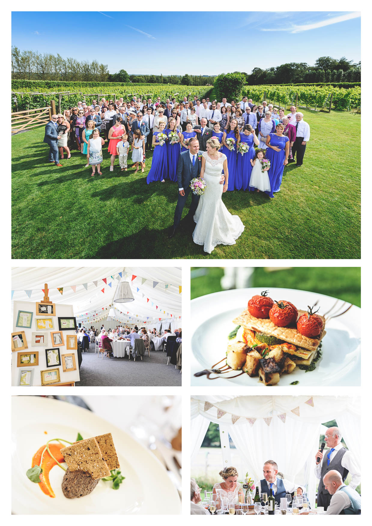 A group photo at llanerch vineyard of a wedding and food photography by owen mathias