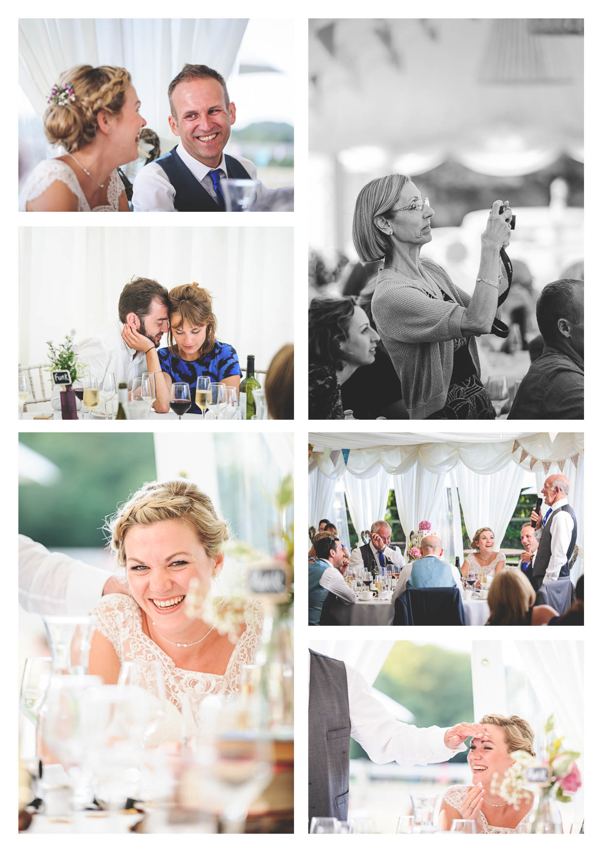 Photographs of the speeches and celebrations within the marquee at llanerch vineyard during a wedding