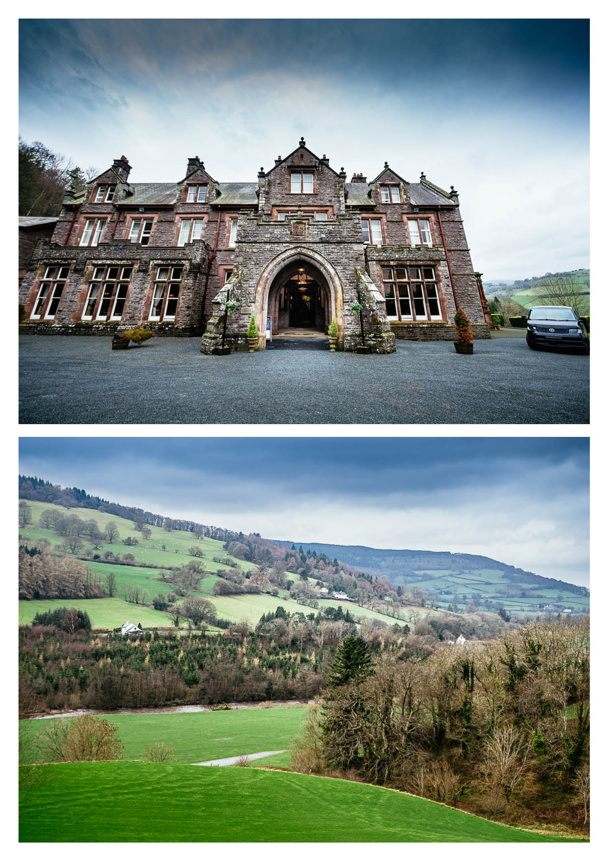 A photo of the outside of Buckland Hall Wedding Photographers Cardiff Brecon Wales