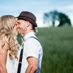 Alternative Wedding Photographers Cardiff and UK image of couple kissing at boho wedding
