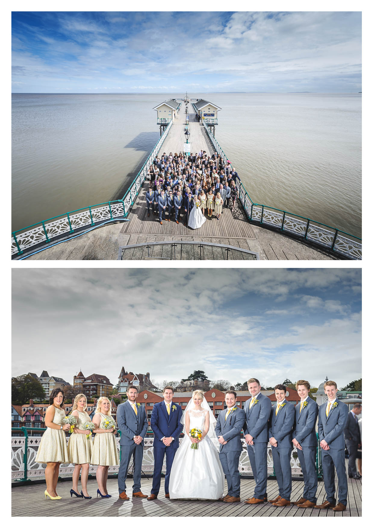 Bride and Groom at Penarth Pier Pavilion by Cardiff Wedding Photographers