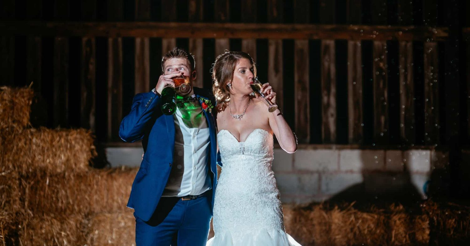 Alternative Wedding Derbyshire Couple drinking in stable