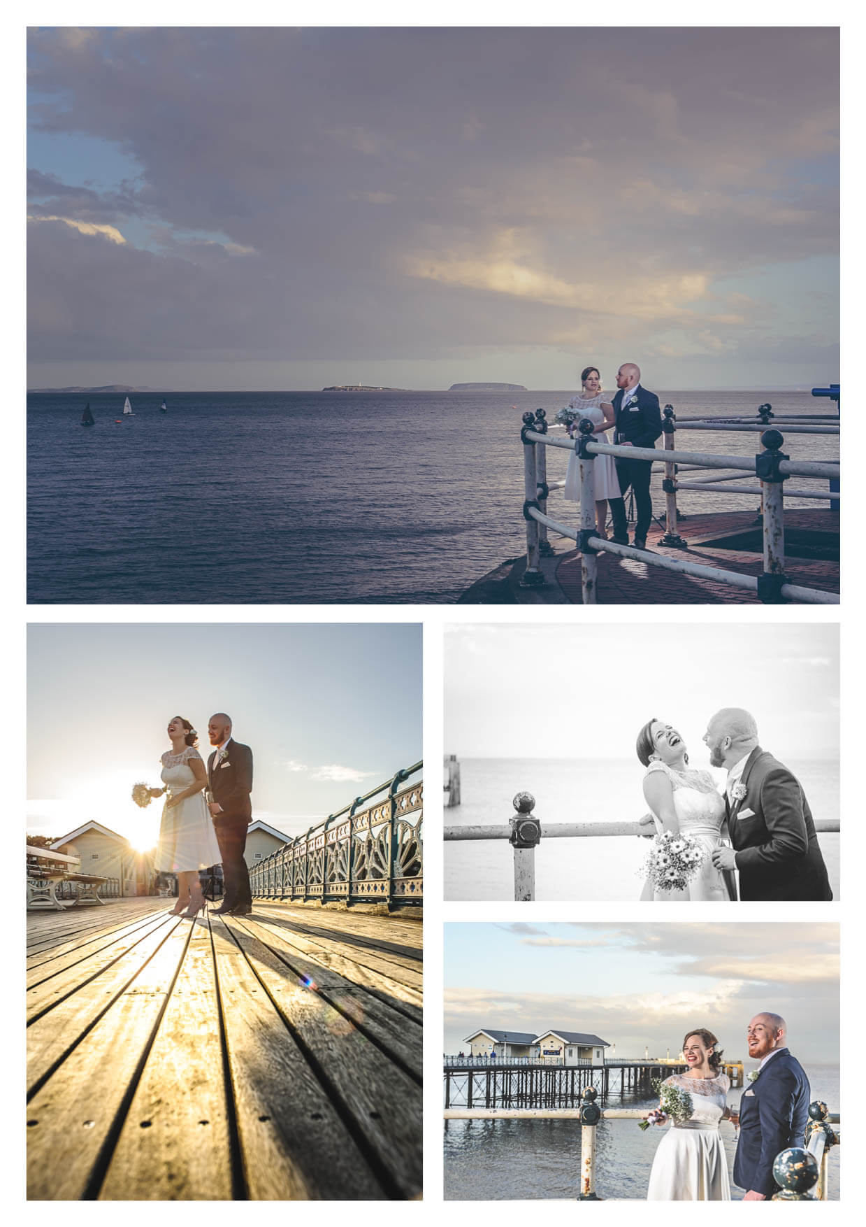 Bride and Groom on Penarth Pier Pavilion Wedding Photographers