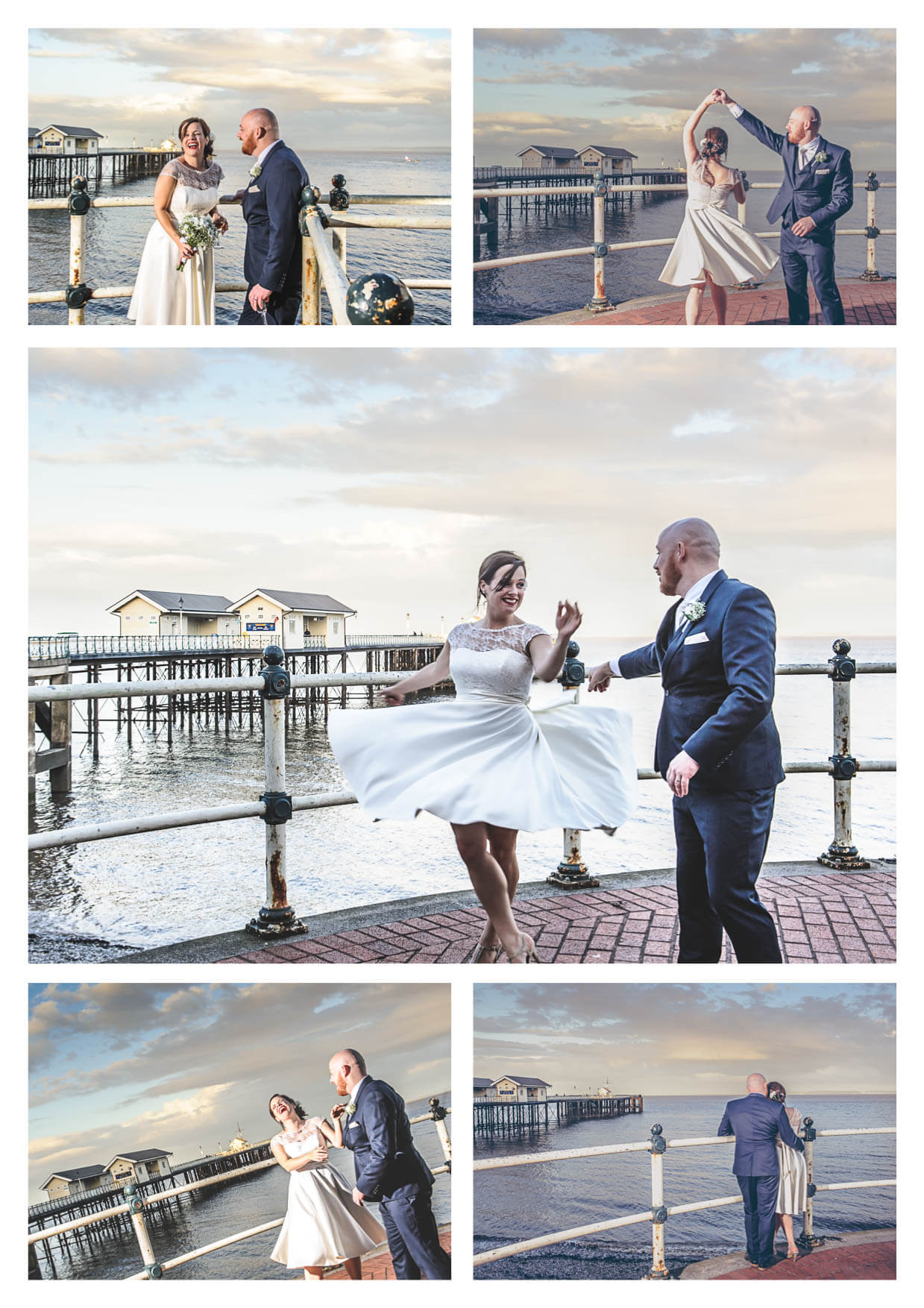 Bride and groom dancing Penarth Pier Pavilion Wedding Photographers