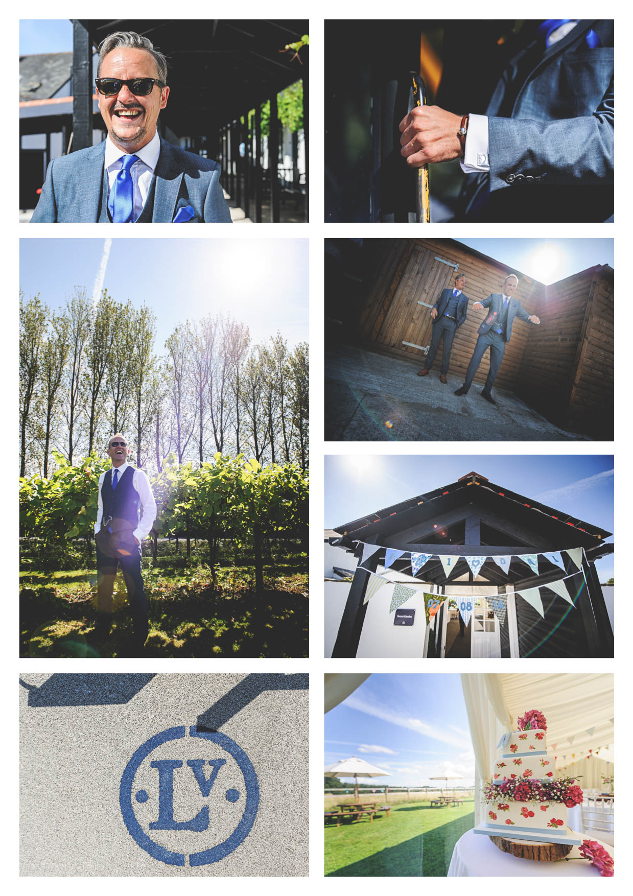 Photos of the groom and best man at llanerch vineyard before the wedding photographed by owen mathias