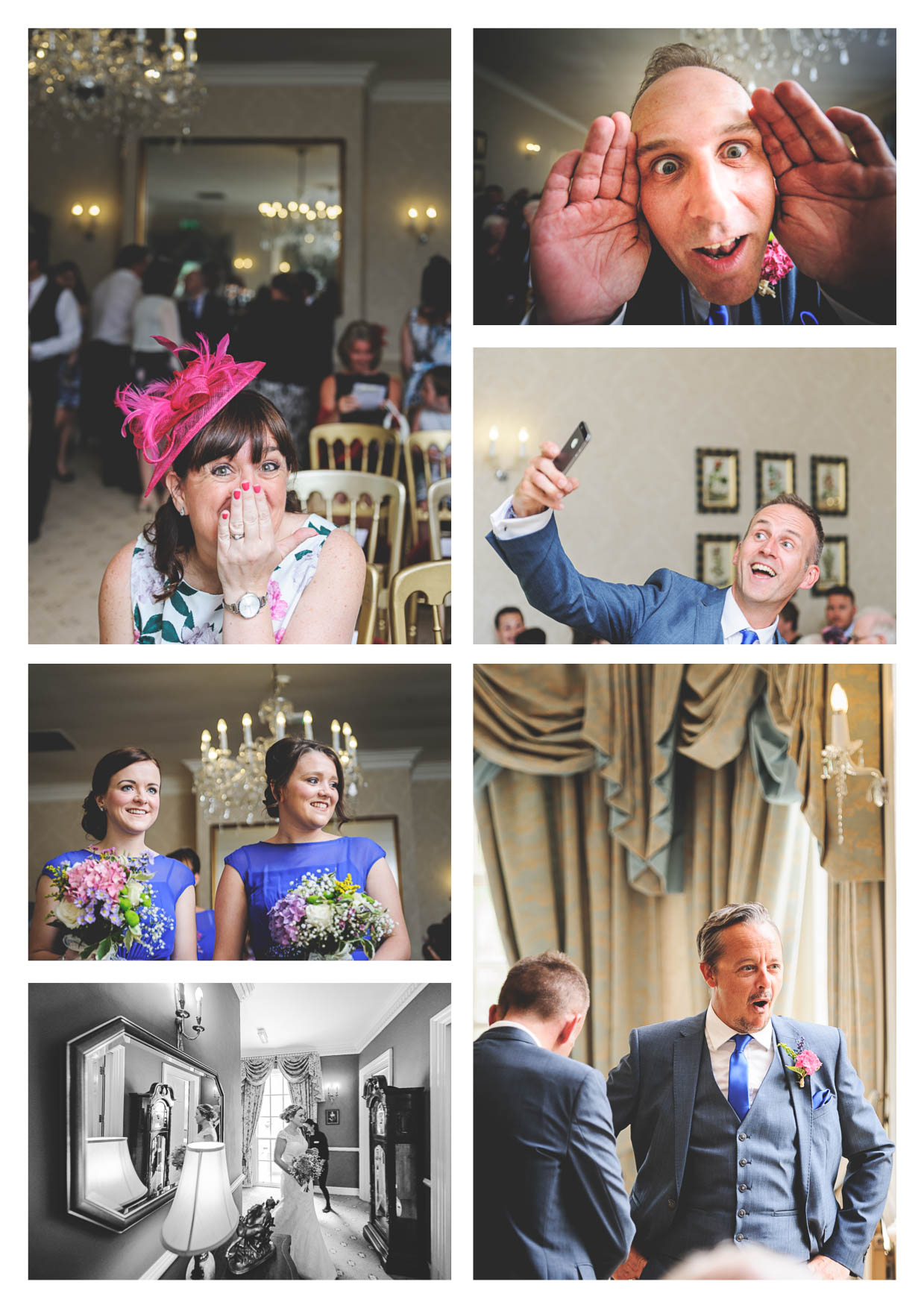 Photographs of the groom and bridesmaids before a wedding service at decourceys manor in cardiff