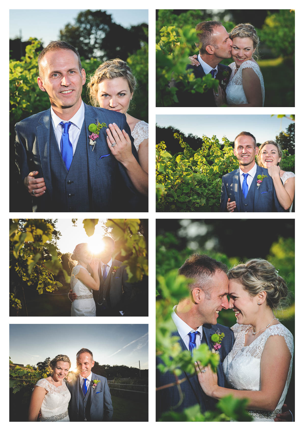 Photographs of a beautiful bride and groom on their wedding day amongst the vines at llanerch vineyard enjoying some couple time together in evening sunset