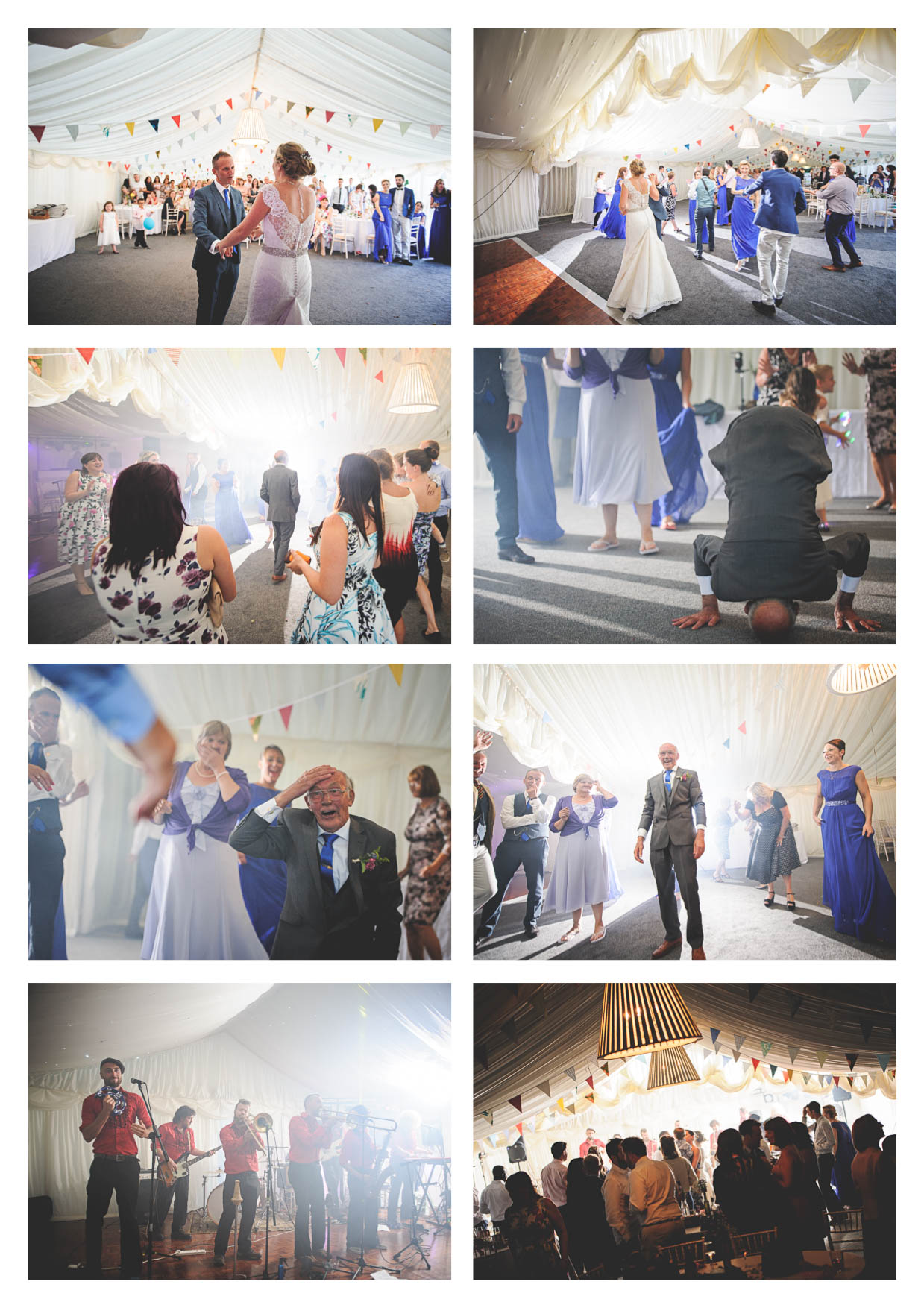 Photos of a party in the marquee of llanerch