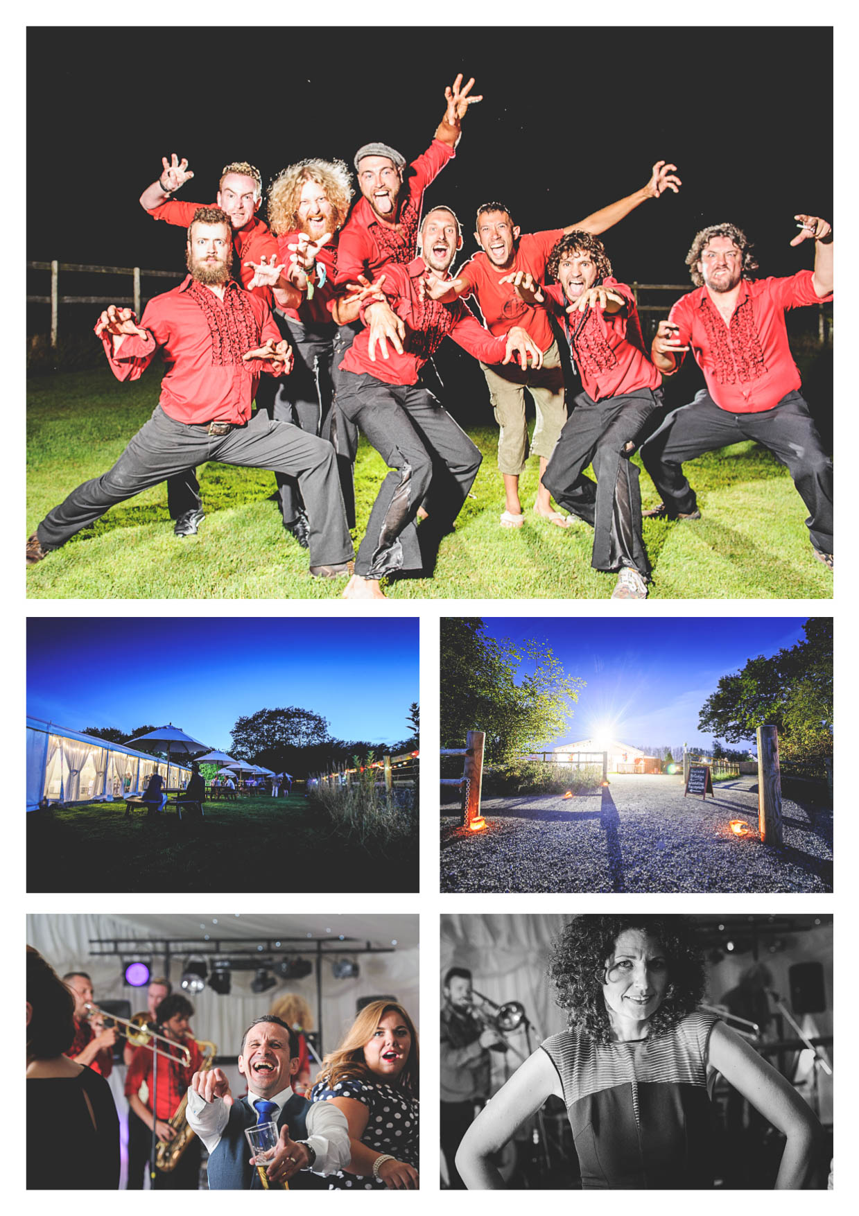 Photos of a band and party in the marquee at llanerch vineyard