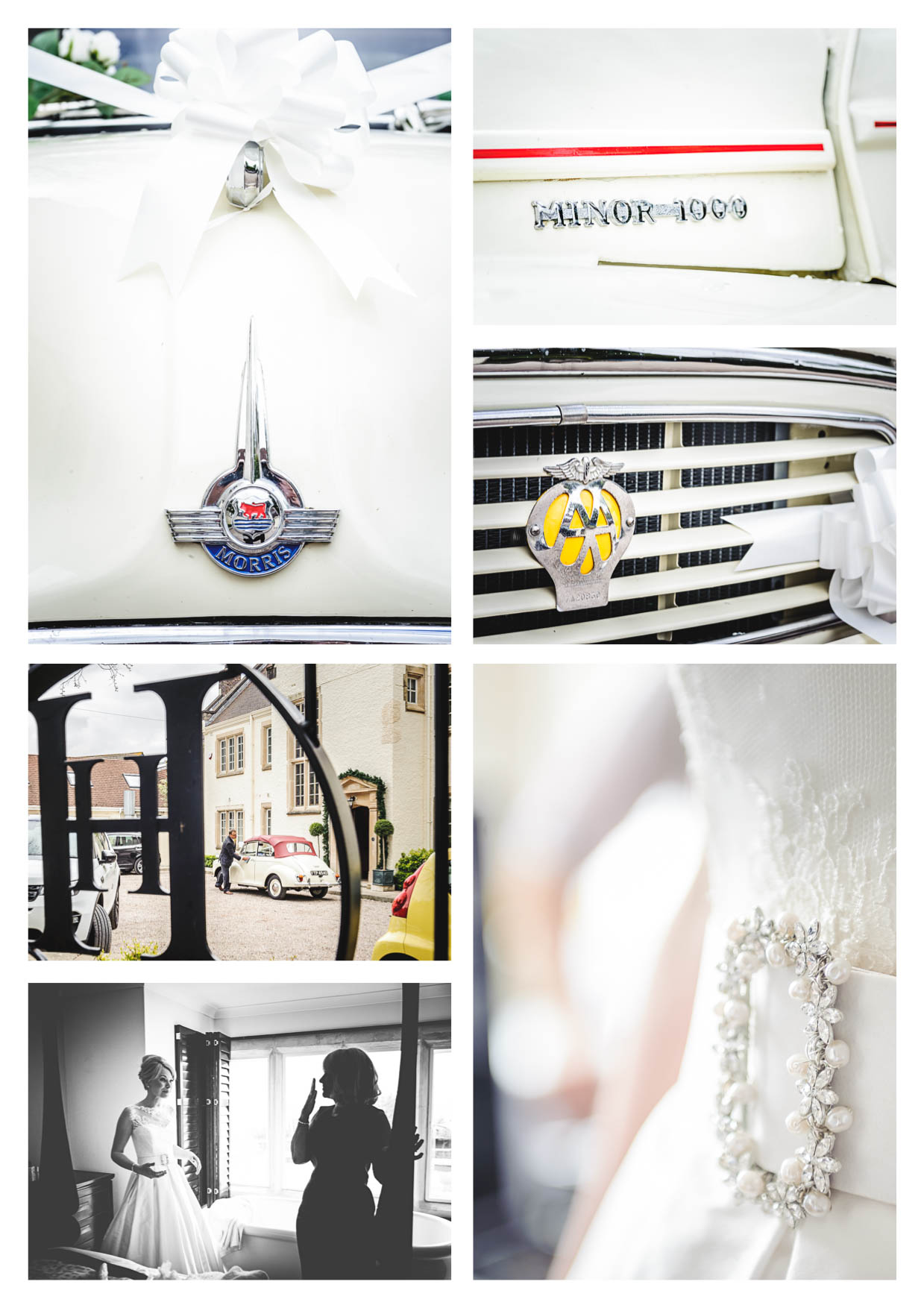 A montage of photos of a wedding at penarth pier pavilion