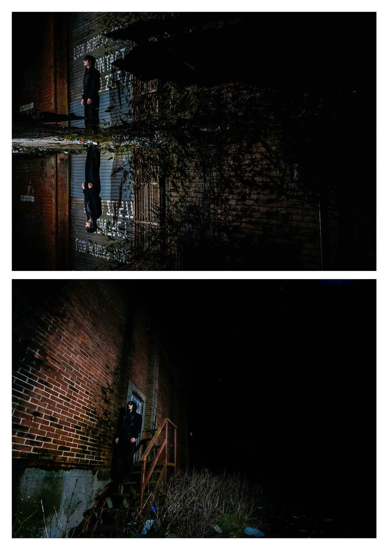 Two nightime images by Music Band Photographers Cardiff south Wales Midtide