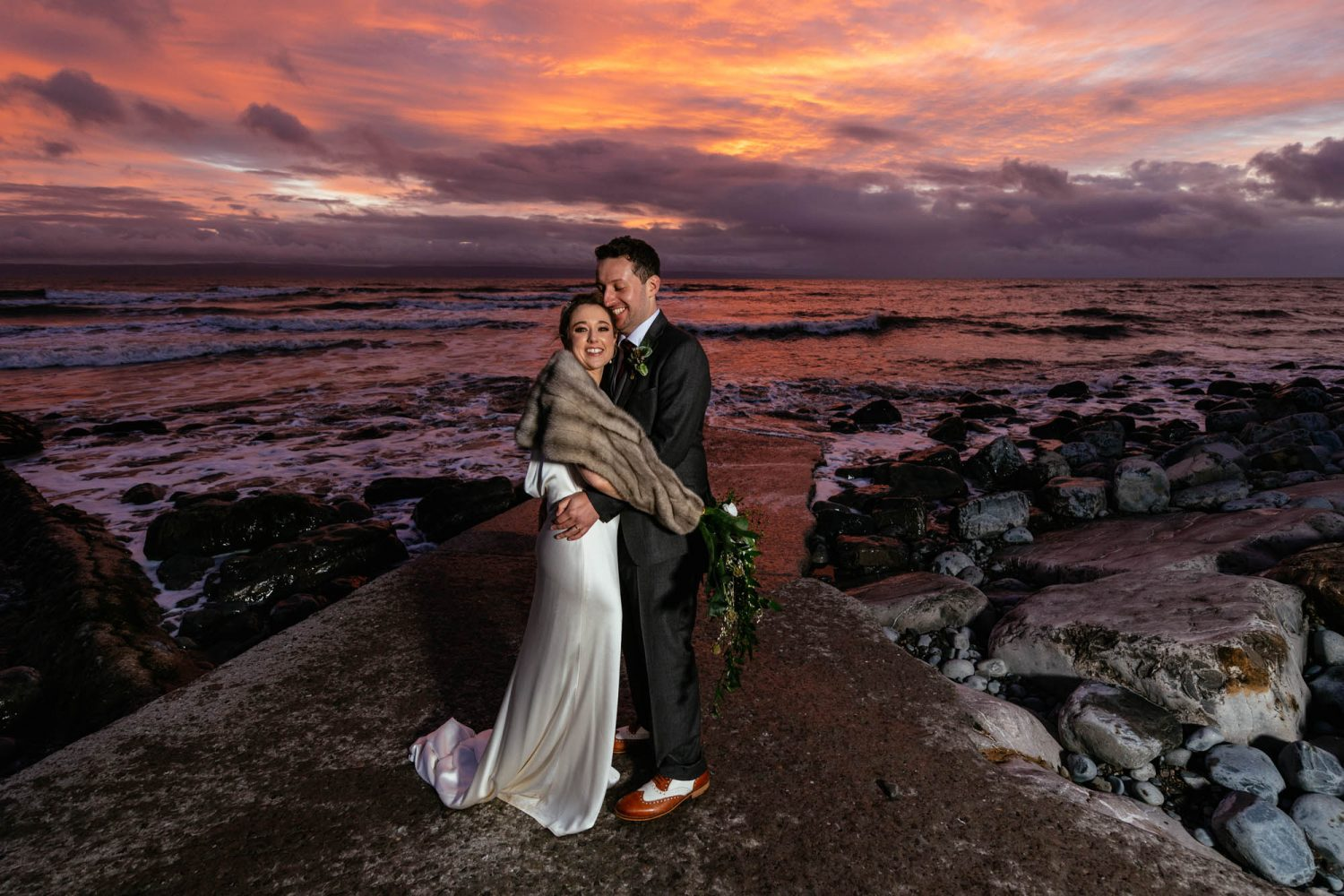 Llantwit Major Beach at Sunset Farmers Barns Rosedew Farm Wedding Photographers