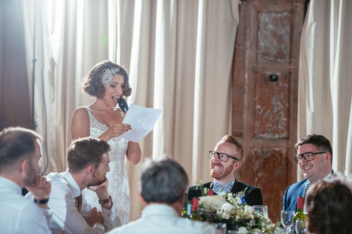 Bride making a speech captured by south wales wedding photographers